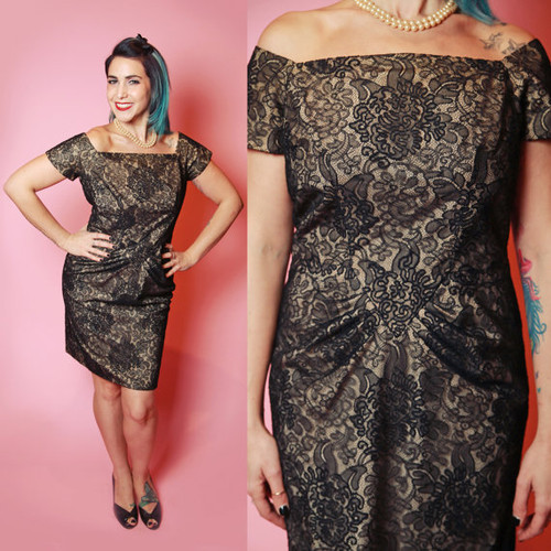 1940's Gathered Hip Black Lace Overlay Wiggle Dress