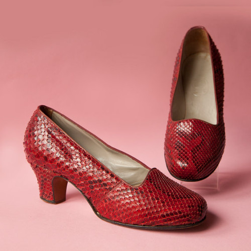 1930's Ring Schuh Round Toe Red Snake Leather Pumps