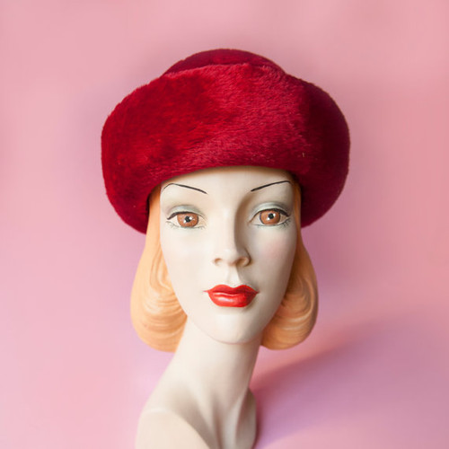 1960's Red Lord & Taylor Milady England Velour Hat