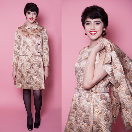 1960's Circle Patterned Metallic Copper Brocade Dress & Jacket