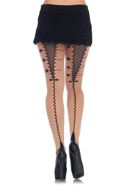 Corset Lace Up Black Cuban Heel Stocking