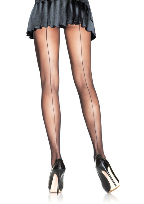Back Seam Sheer Pantyhose In Black