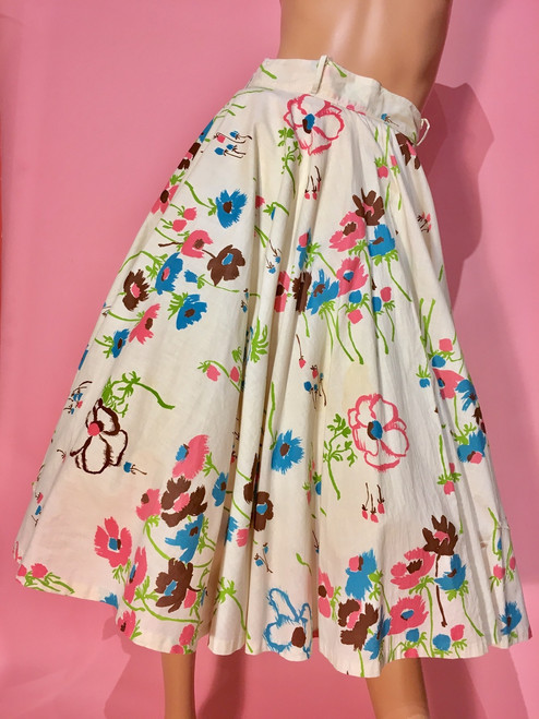 1950's Flower & Pansy Print Circle Skirt