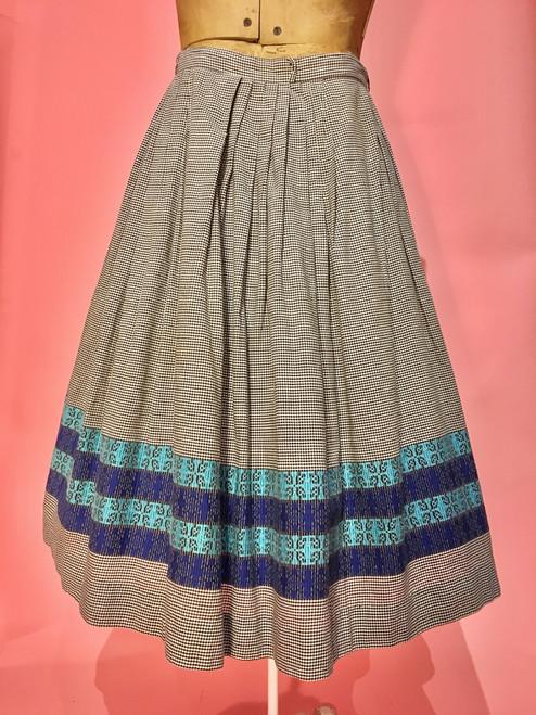 1950's Woven Border Gingham Circle Skirt