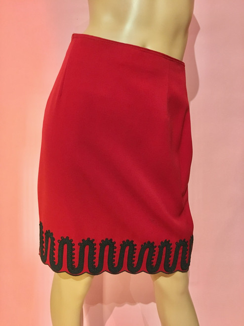 Made In Italy Ric Rac Embroidered Wool Skirt