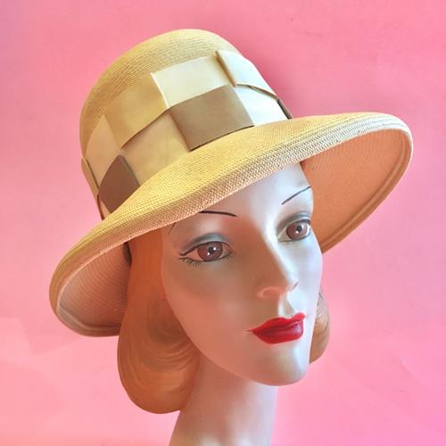 1960's - 70's Ribbon Loop Woven Straw Hat