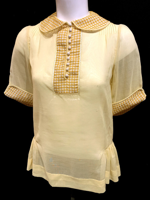 1920's Checkered Trim Pin Tucked Blouse (Z- The Beginning Of Everything)