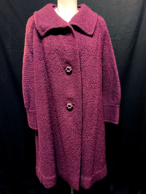 1960's Angelo Fabric H.E. Brown Woven Wool Coat