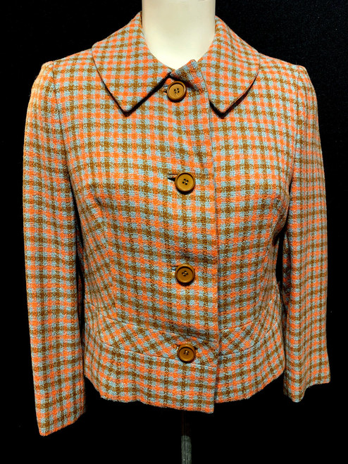 Mid Century Plaid Wool Jacket