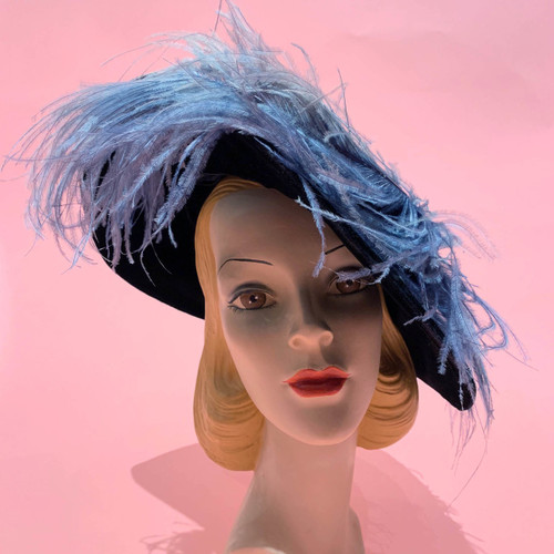 Bellwood Hat Shop Victorian Velvet Ostrich Feather Hat