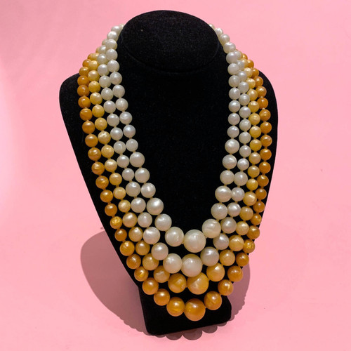 1950's - 60s Graduated Four Strand Bead Necklace
