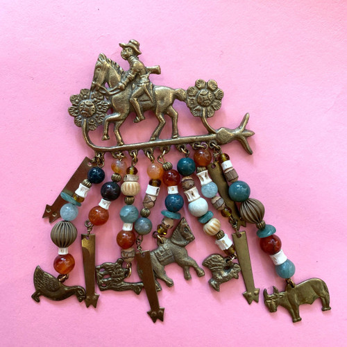 Large Brass Western Dangle Charms Brooch