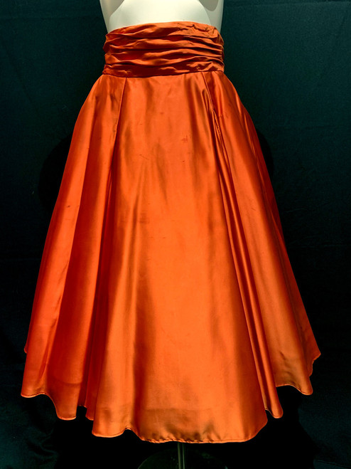 1950's Satin Built In Petticoat Bow With Pockets Swing Skirt