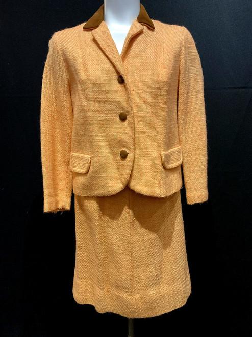1960's-70's Leather Trim Pastel Tweed Suit