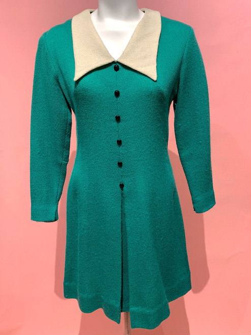 1960's Oversized Collar Wool Knit Button Front Dress