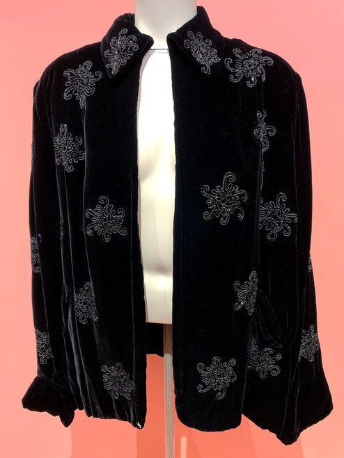 1920's Davidson's Leon Pierret Velvet Beaded Jacket