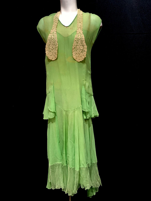 1920's Silk Lace Collar Chiffon Dress