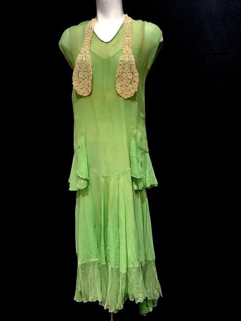 1920's Silk Lace Collar Chiffon Dress
