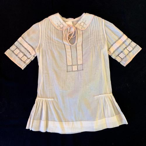 1920's Cutwork Trim Short Sleeve Top