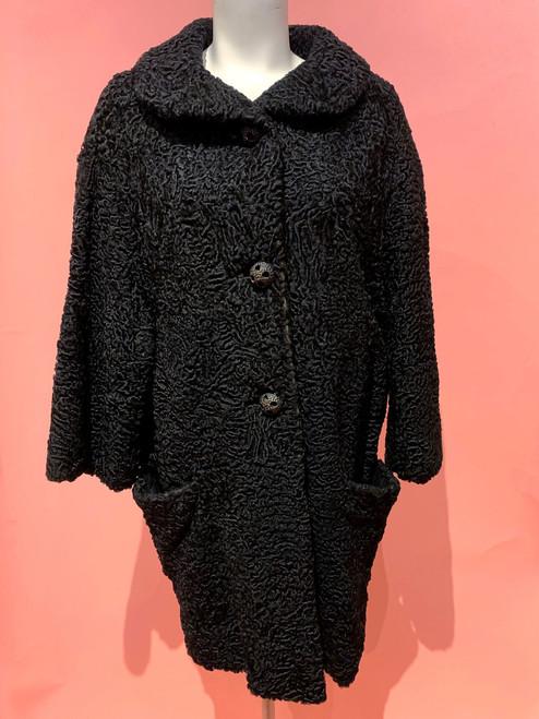 1920's-30's Silk Brocade Lined Persian Lamb Coat