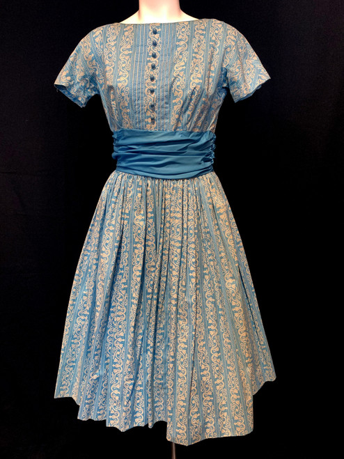 1950's Gay Gibson For B. Altman Folk Print Dress