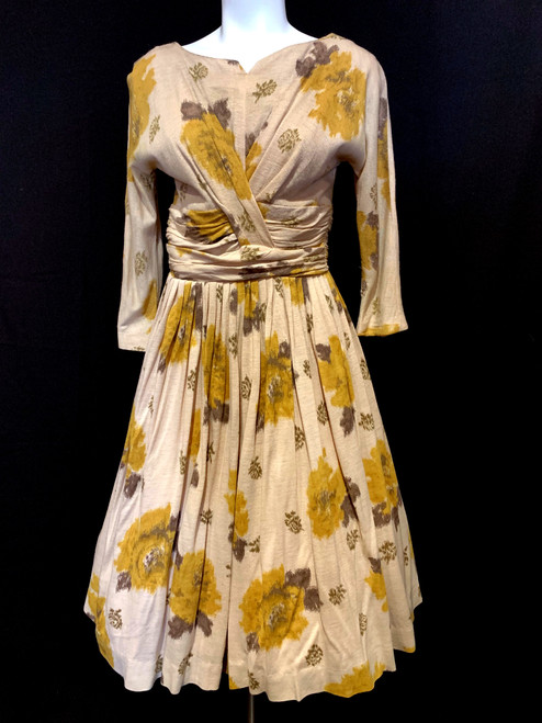 1950's Knit Floral Overlap Bust Layered Waist Swing Dress