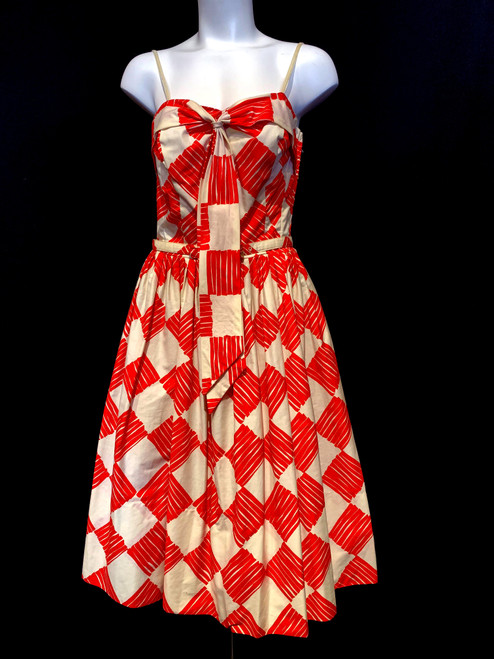 1950's Checkered Pattern Front Bow Cotton Swing Dress