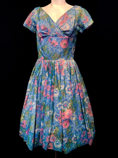 1950's - 60's Gigi Young Watercolor Flower Print Chiffon Dress