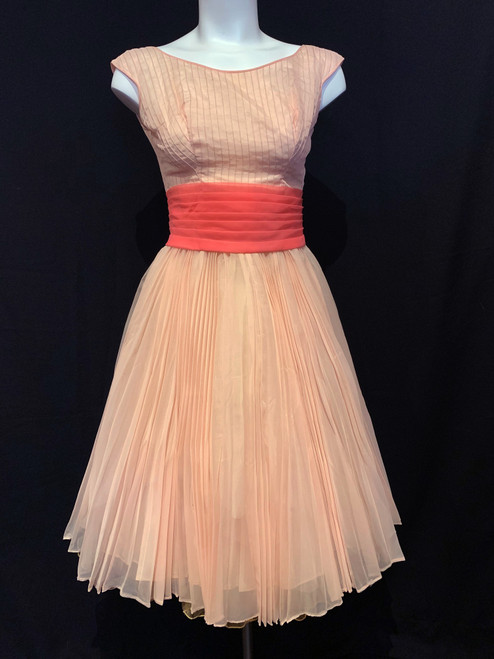 1950s -60s Pleated Chiffon Pin-Tucked Swing Dress