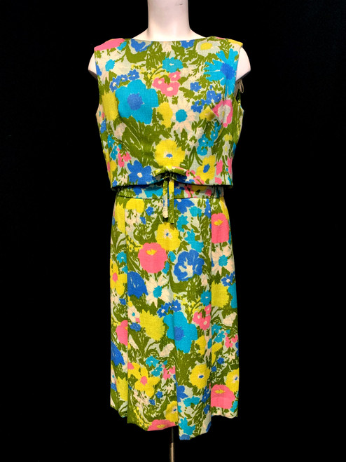 1960's Bright Floral 2 Piece Dress