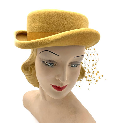 Mid Century Glenover Veil Ribbon Accent Wool Hat