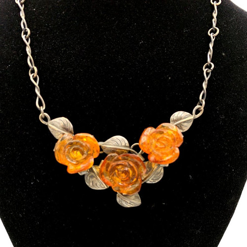 3 Carved Amber Roses Sterling Silver Necklace