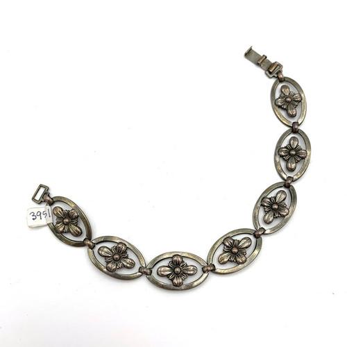 1920s - 1930s Sterling Silver Segmented Flower Bracelet