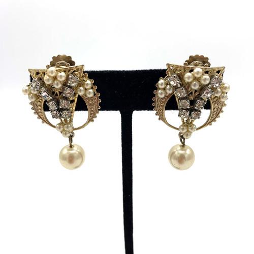 1940s Filigree Pearl & Rhinestone Clip On Earrings