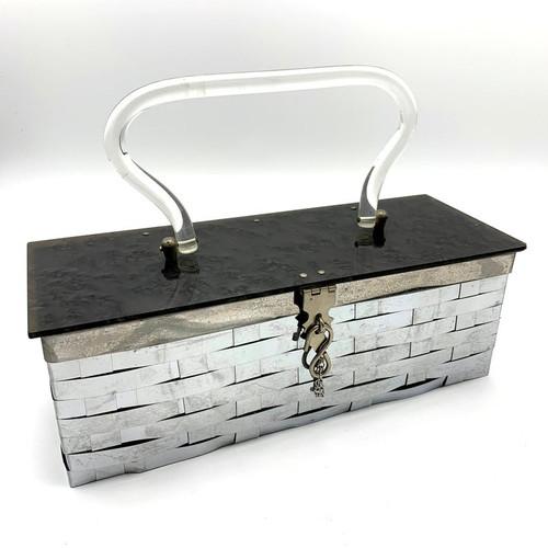 Mid Century Woven Metal Lucite Top Handbag