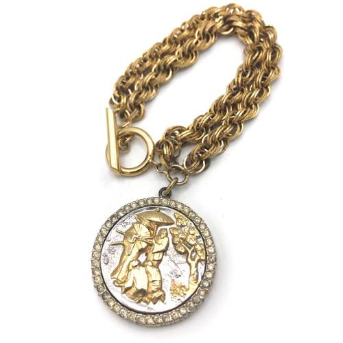 1960s Nettie Rosenstein Scenic Medallion Charm Bracelet