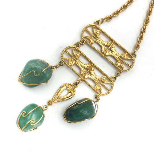 1970s Polished Jade Stone Tassel Necklace
