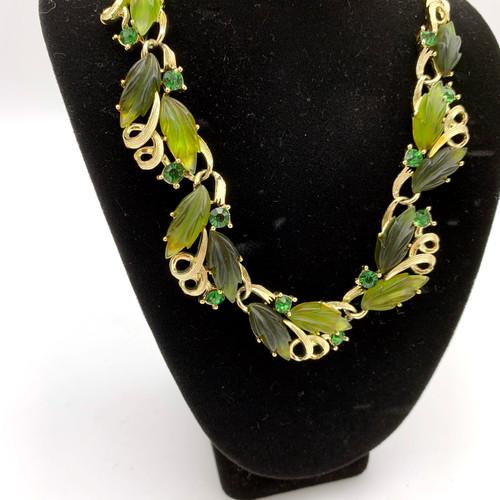 1960's Lisner Green Resin Leaf Necklace