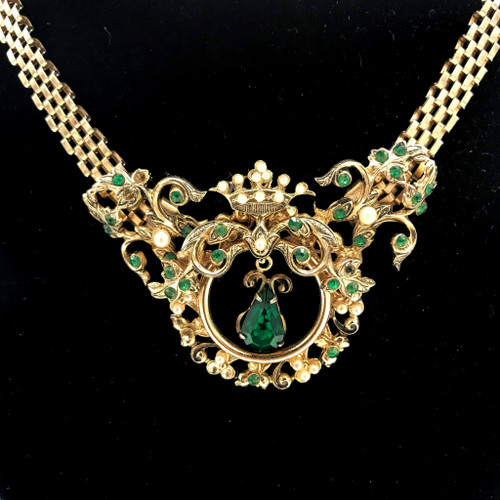 1960s-70s Coro Crown Medallion Teardrop Crystal Necklace