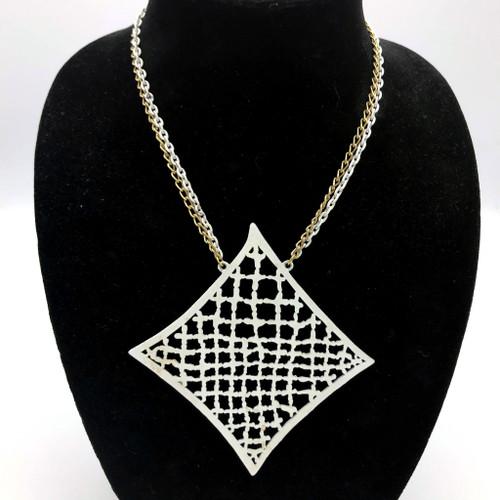 1960s-1970s White Enamel Rectangular Medallion Necklace
