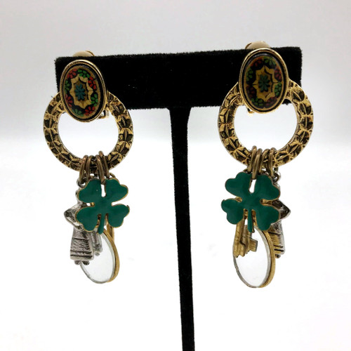 1980s Robert Rose Lucky Charms Clip On Earrings