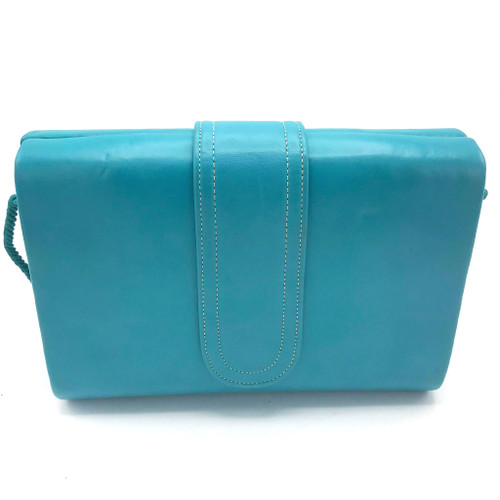 1980s Robert Bestein Teal Leather Clamshell Bag