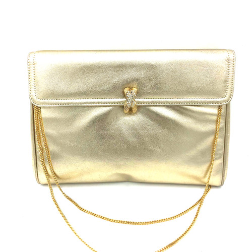 1960s - 1970s Morris Moskowitz X Rhinestone Clasp Detail Chain Handle Leather Purse