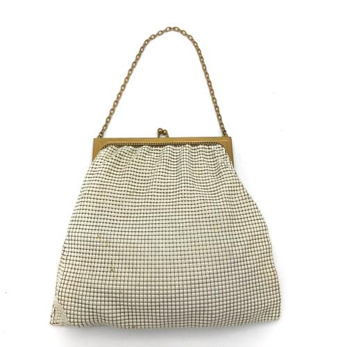 1940s - 50s Whiting & Davis Metal Chain Cream Enamel Bag