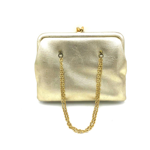 1960s -70s Lord & Taylor Gold Vegan Faux Leather Double Kiss Lock Purse