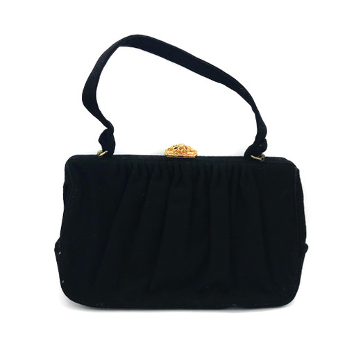 1950s - 60s Metal Flower Clasp Detail Wool Handbag