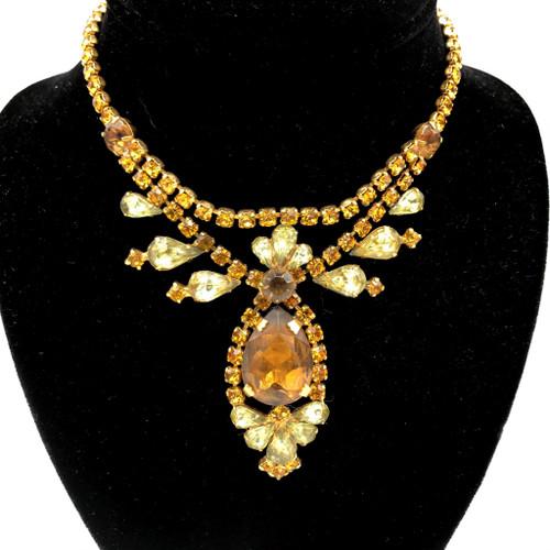 1960s Amber Tone Teardrop Pendant Rhinestone Crystal Necklace