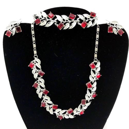 Mid Century Red Ruby Rhinestone 4pc Jewelry Set