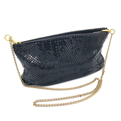 1980s Whiting And Davis Chain Handle Convertible Clutch Cross Body Bag