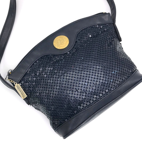 1980s - 90s Whiting & Davis Metal Mesh Faux Leather Crossbody Bag